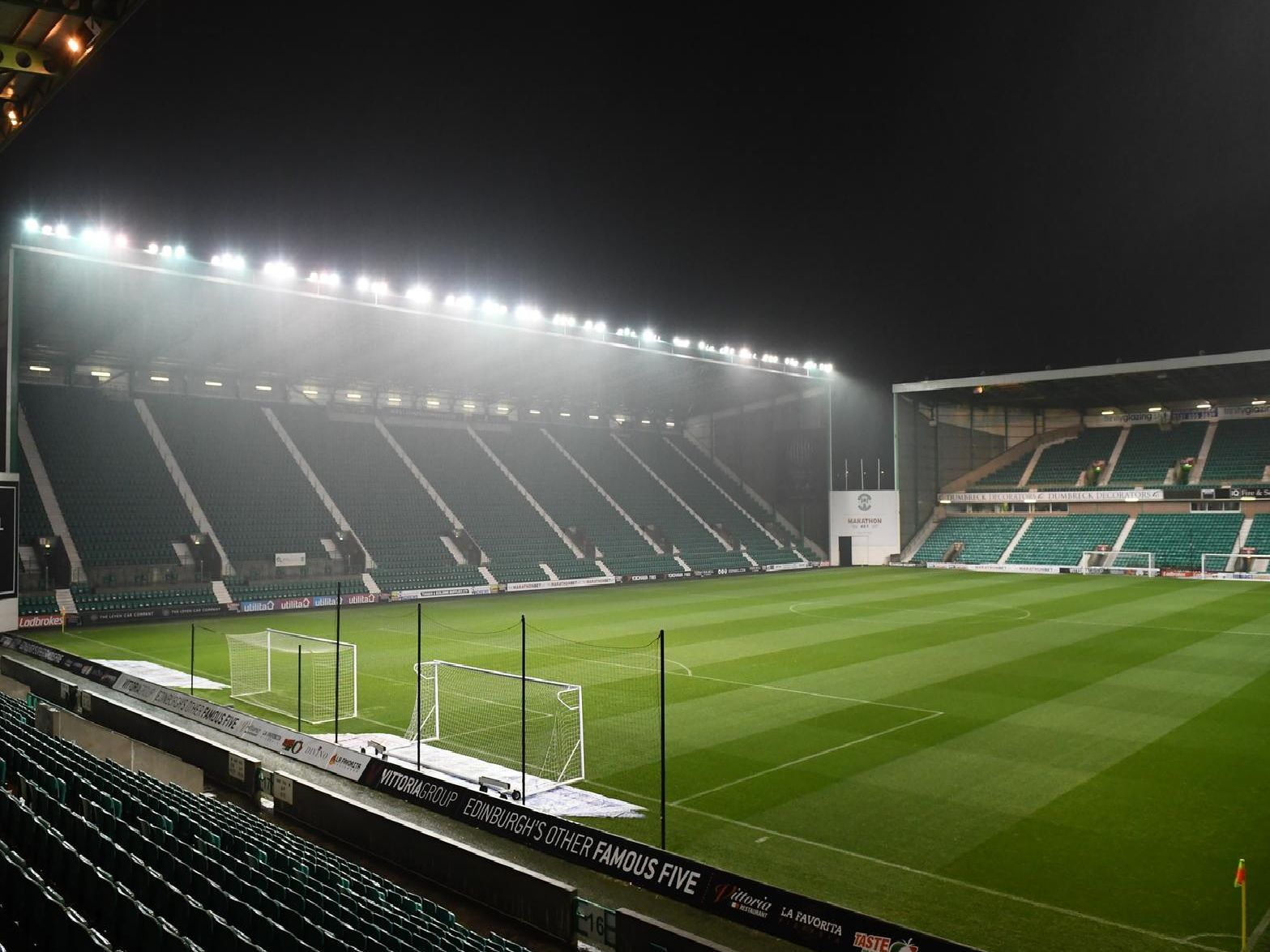 A general view of Easter Road at night.