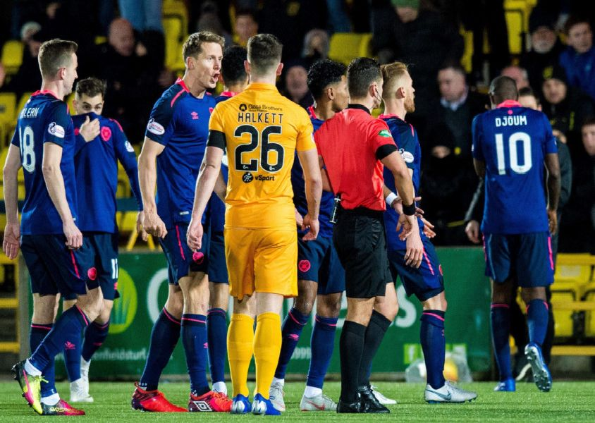 Arnaud Djoum is sent off by Nick Walsh. Picture: SNS/Ross Parker