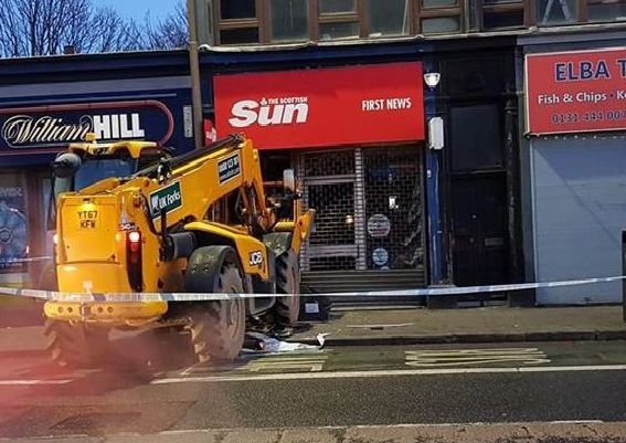 A digger has crashed into a newsagents on Gorgie Road. Picture: Contributed