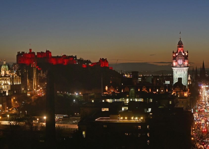 """Scotland�""""s largest Chinese New Year celebration sees Edinburgh painted red for the Year of the Pig''Edinburgh landmarks light up red to mark Chinese New Year as the city hosts Scotland's largest Chinese New Year celebrations until 17 February. Landmarks in red include; Edinburgh Castle, Balmoral Hotel, The Outlook Tower at Camera Obscura, Jenners  Department Store, Harvey Nichols, The Scotch Whisky  Experience and Edinburgh Airport. Full festival programme at www.chinesenewyear.scot '' Neil Hanna Photography'www.neilhannaphotography.co.uk'07702 246823"""
