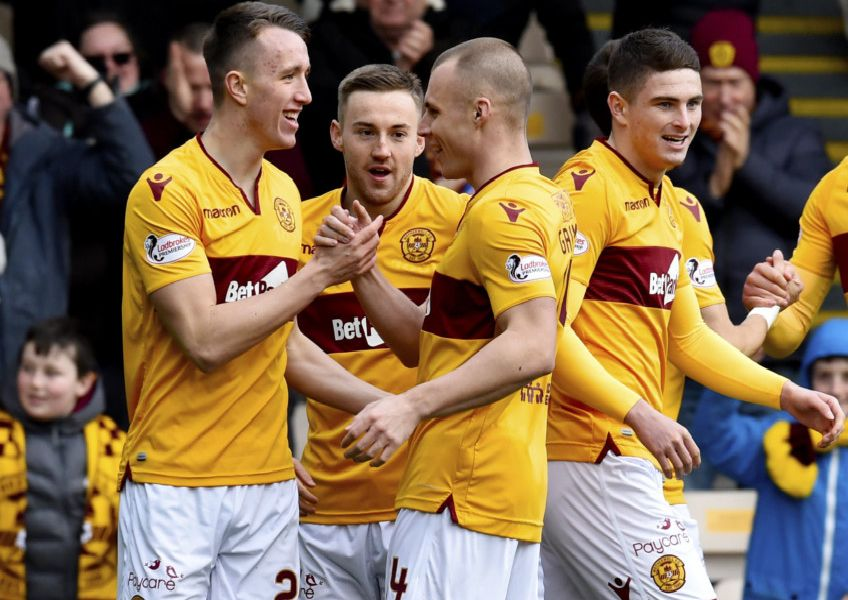 09/03/19 LADBROKES PREMIERSHIP'MOTHERWELL V HAMILTON (3-0)'FIR PARK - MOTHERWELL'(L-R) Motherwell's David Turnbull, Allan Campbell, Liam Grimshaw and Jake Hastie celebrate the opening goal