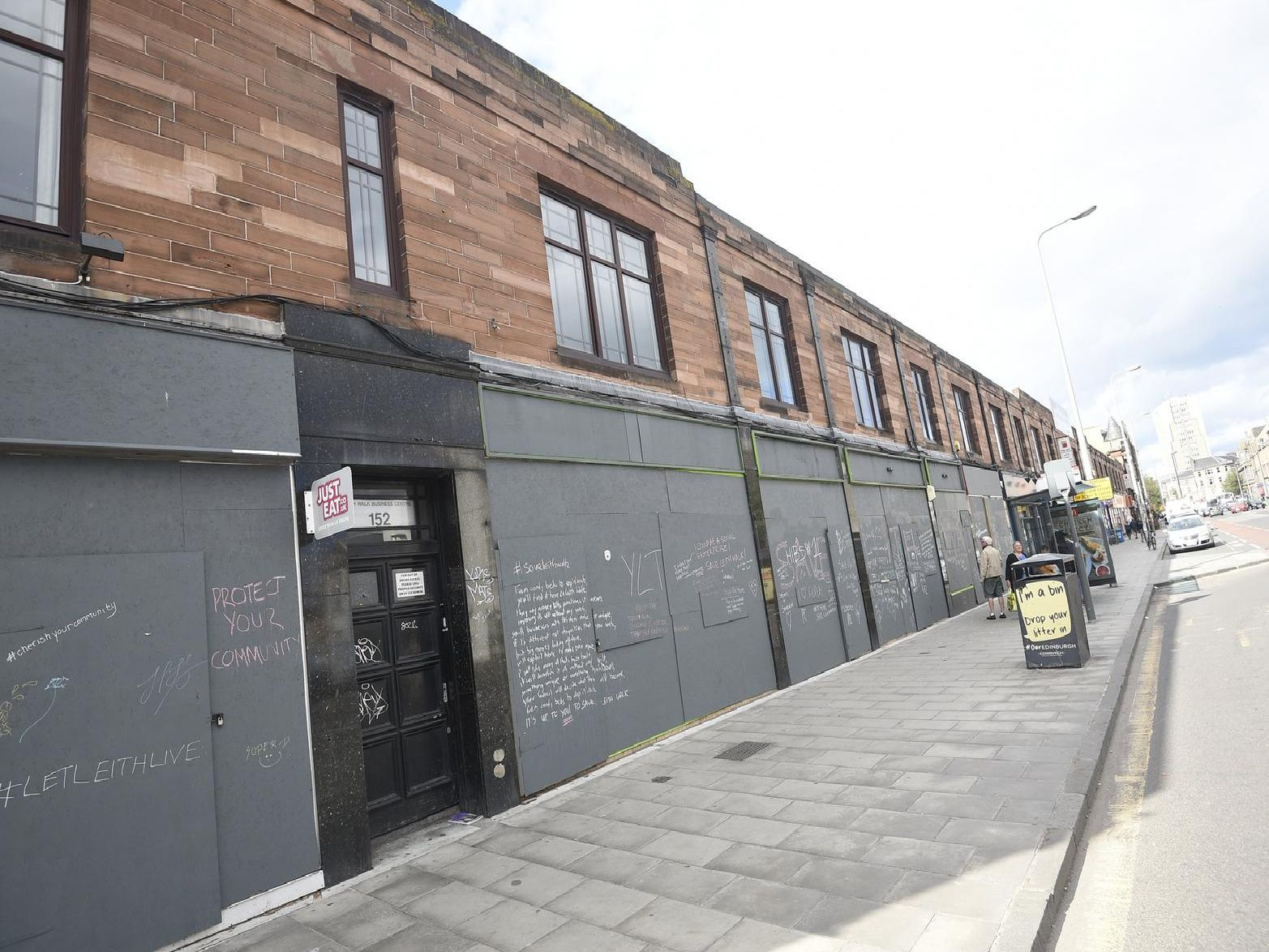 The boarded up shops near the bottom of Leith Walk (Photo: Greg Macvean Photography)