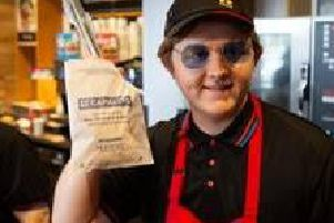 Undercover Lewis Capaldi serves sausage rolls to unsuspecting fans at Greggs