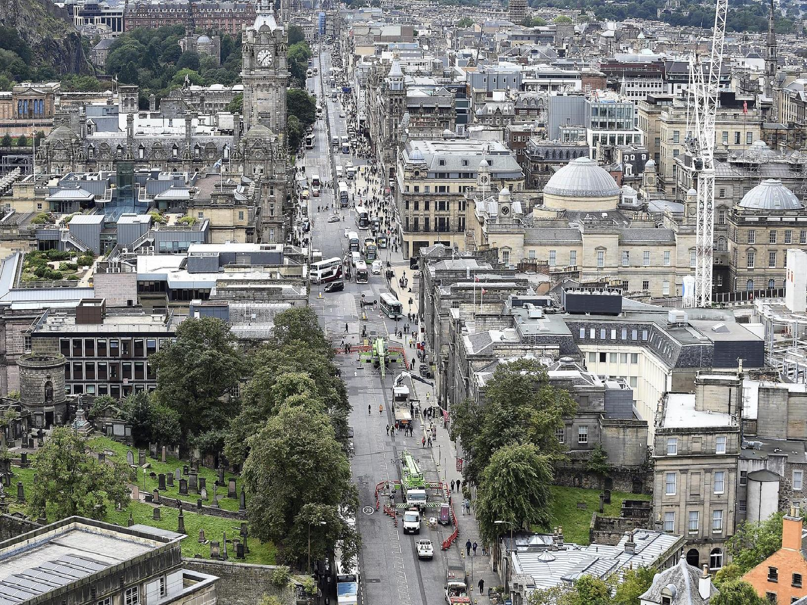 A photo of the streets below taken from Calton Hill