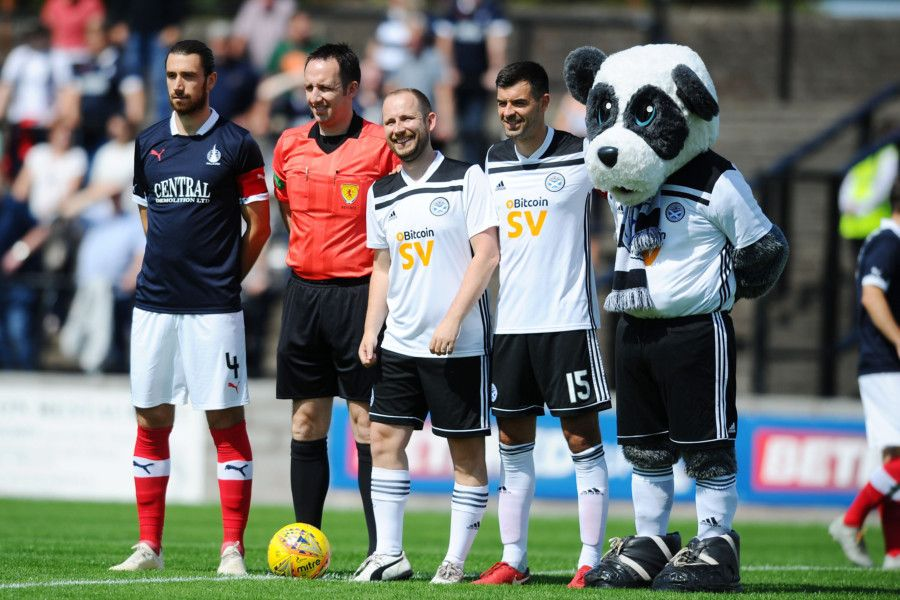 20-07-2019. Picture Michael Gillen. AYR. Somerset Park. Ayr Utd v Falkirk FC. The Scottish League Cup, SPFL Betfred Cup 2019 - 2020, Group G. Ayr mascot Allan Clark 33 he's on his stag and is marrying Caoimhe O'Brien 32 on August 9.
