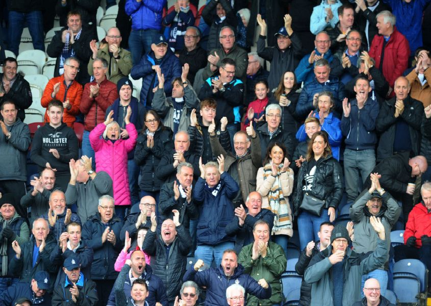 Falkirk goal, Louis Longridge 14. Falkirk fans celebrate.