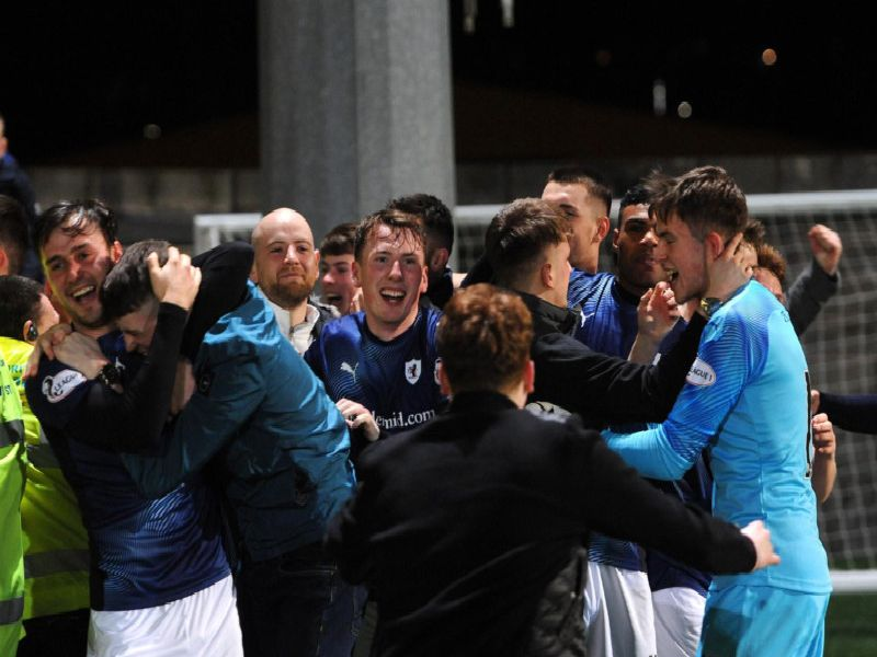 Raith players celebrate with supporters after Jamie Gullan's injury-time clincher in the 5-3 win over East Fife at Bayview.