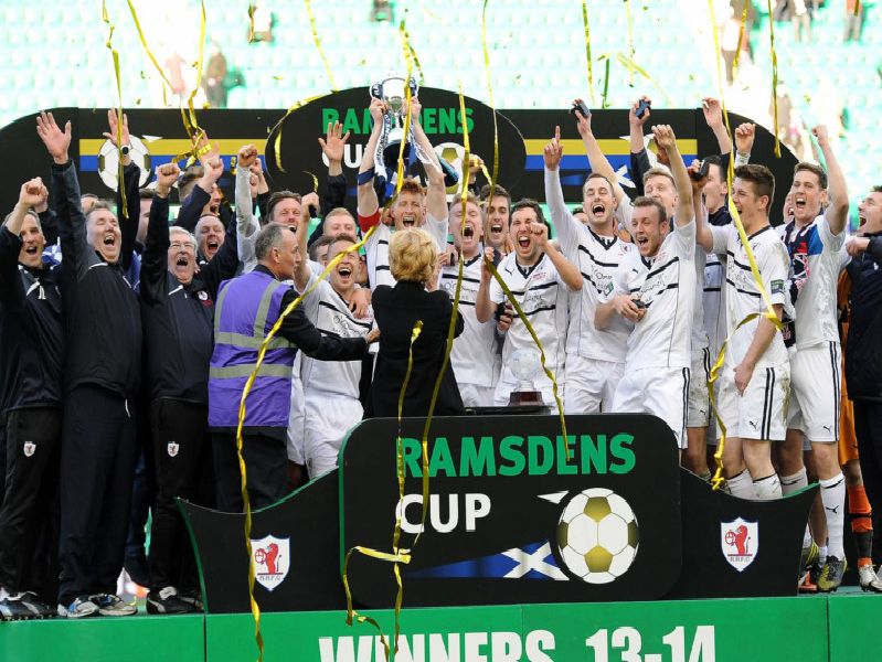 Raith Rovers win the Ramsdens Cup in 2014.
