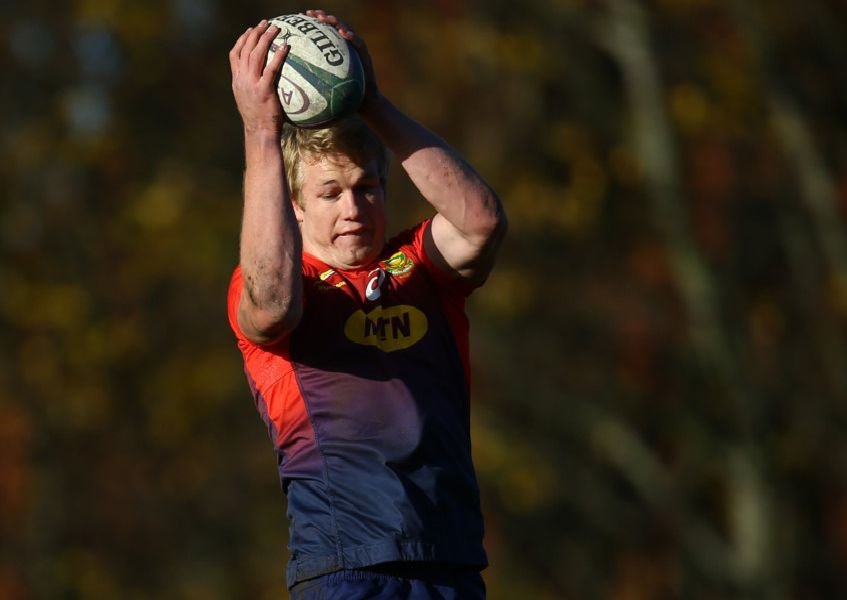 Pieter-Steph du Toit rises highest during a South African training session at Peffermill in Edinburgh. Picture: Steve Haag/Gallo Images/Getty Images