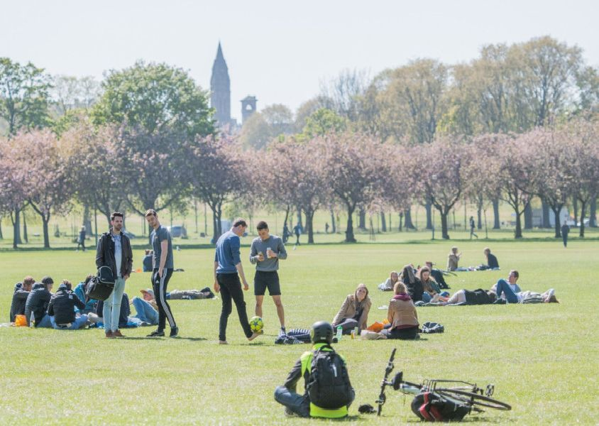 People enjoy Spring weather in the Meadows, Edinburgh. Picture: Ian Georgeson