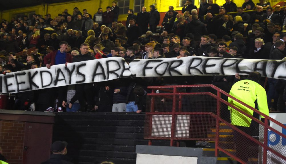 04/03/19 WILLIAM HILL SCOTTISH CUP'QUARTER FINAL'PARTICK THISTLE v HEARTS (1-1)'FIRHILL - GLASGOW'A banner in the Hearts' end