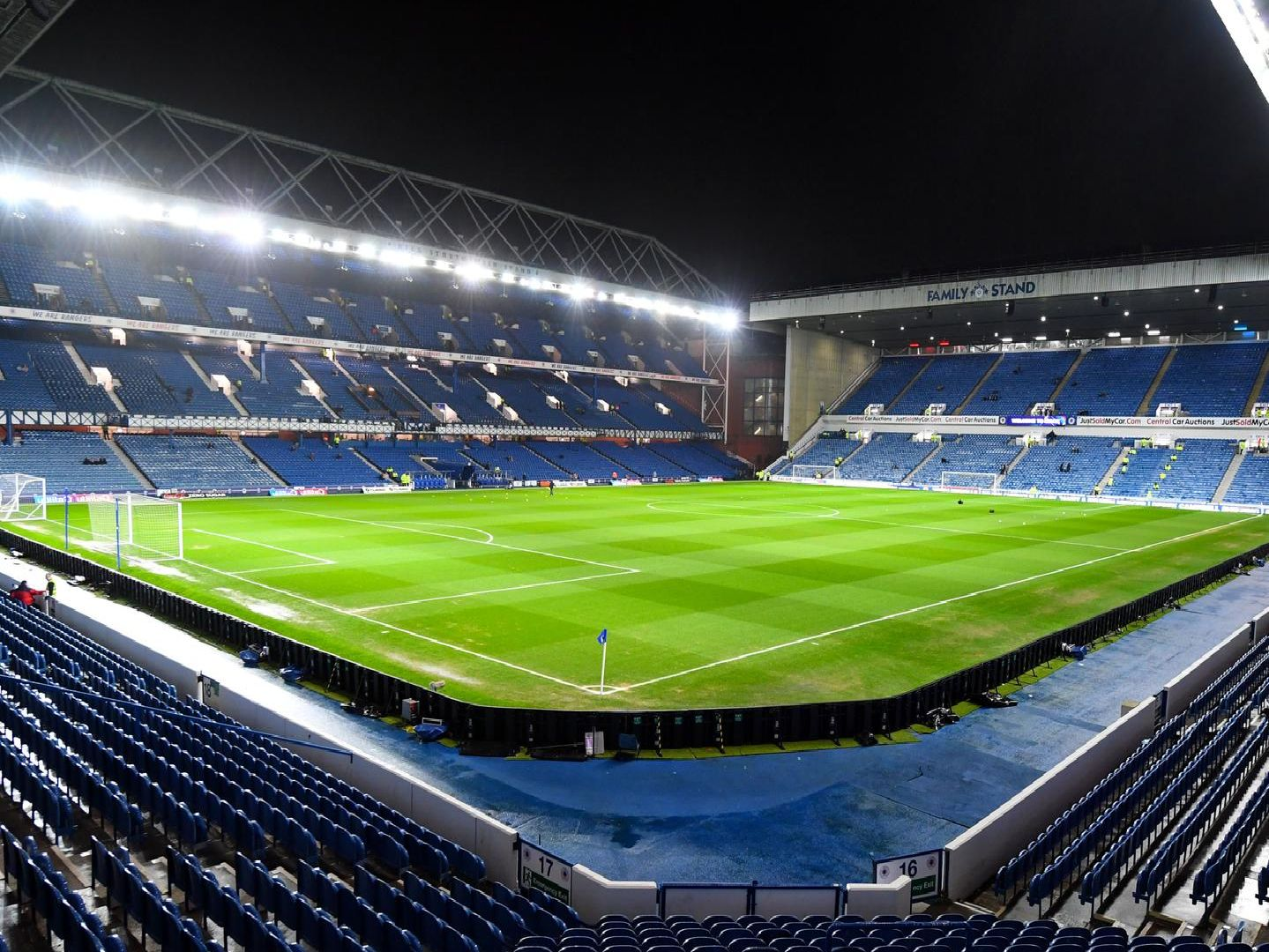 A general view of Ibrox ahead of a night game