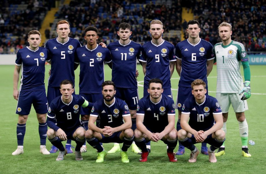 Scotland's players line up before the defeat to Kazakhstan. Picture: PA