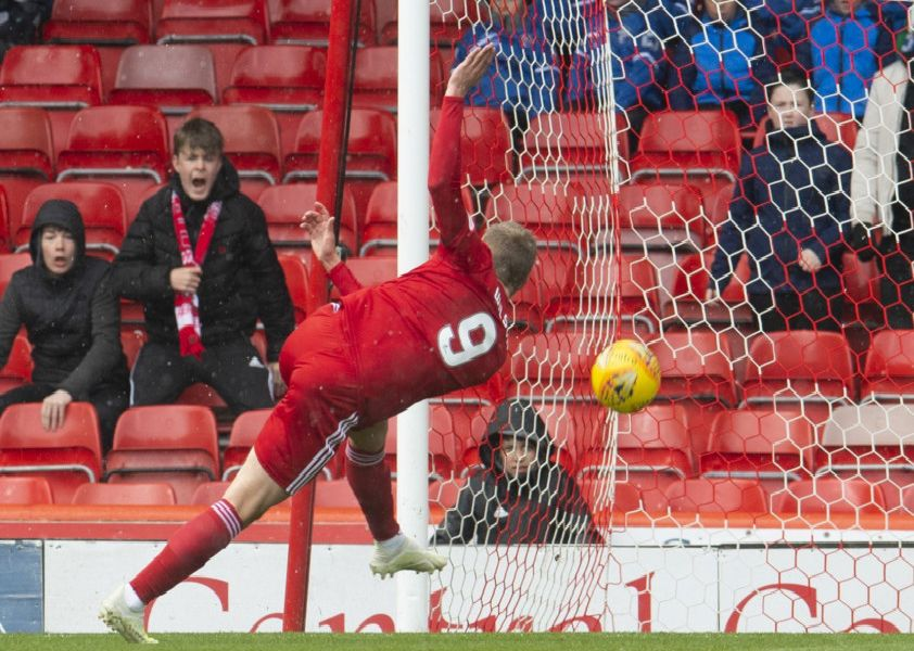 Aberdeen's James Wilson has a first half chance which clips the bar. Pic: SNS/Craig Foy