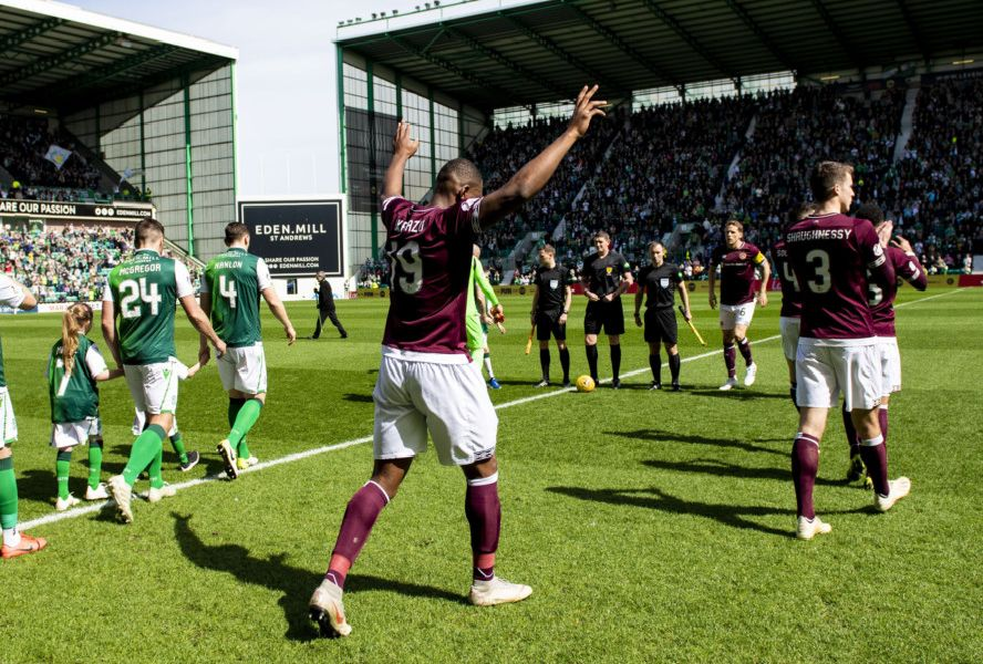 The Hearts and Hibs players take to the field ahead of the last Edinburgh derby of the 2018/19 season. Picture: SNS Group