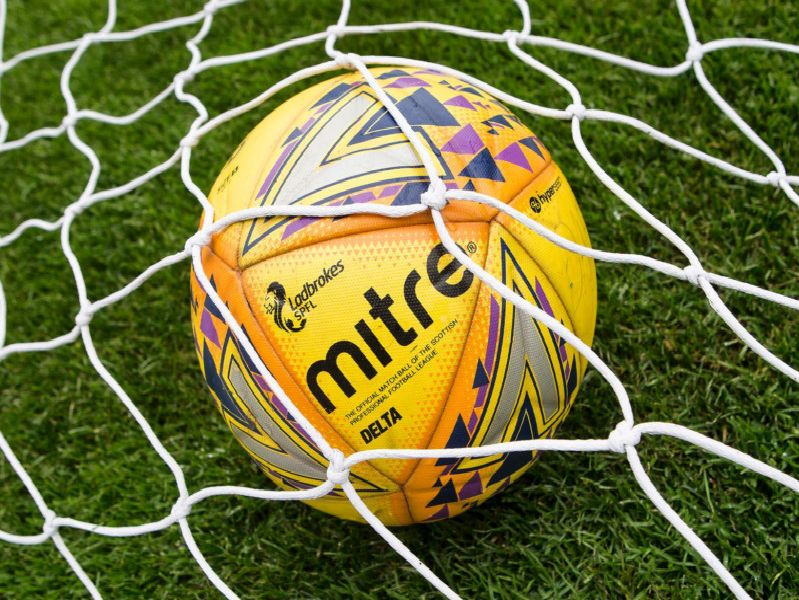 A general view of an SPFL football in a goal