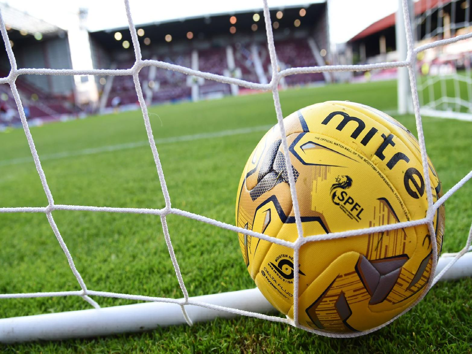 A general view of an SPFL ball in a goal net