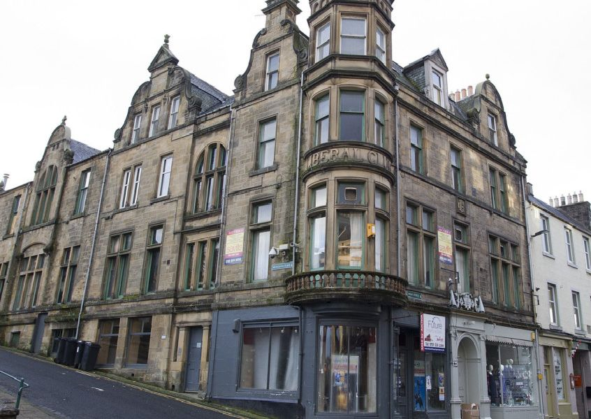 The old Liberal club at 80 High Street in Hawick.