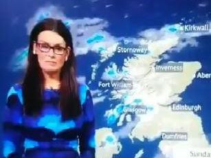 Scottish weather presenter Judith Ralston swore during a live weather report yesterday evening. Picture: Screen capture from video on @davymoncs Twitter