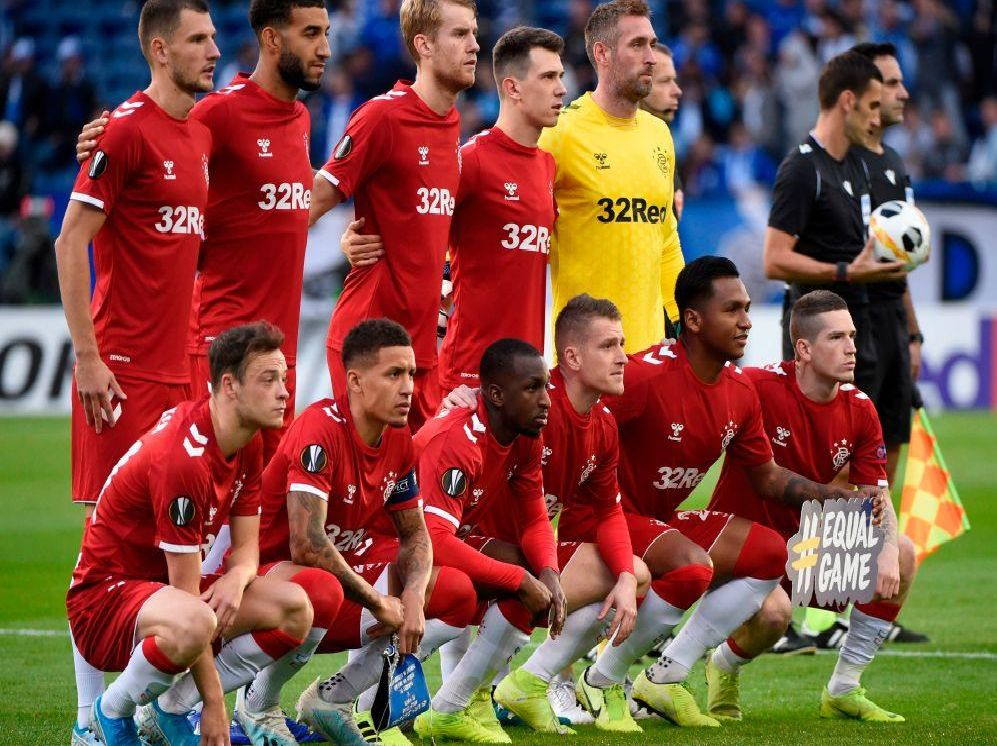 Rangers line up prior to kick-off. Picture: SNS