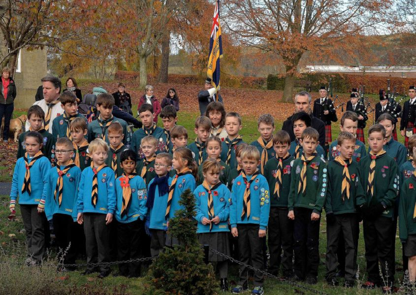 The town's Beavers and Cubs pay their respects.