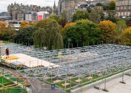 The scaffolding being constructed in Princes Street Gardens for the Christmas market