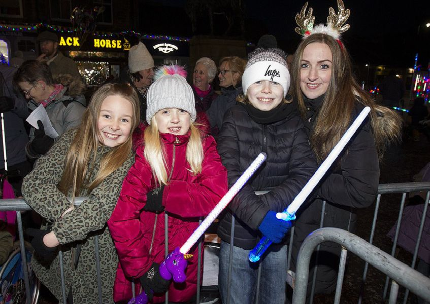 Mirreen Moffat, Kaci Lane, Ethen Swanston and Reagan Lane from Hawick at the town's festive switch-on.