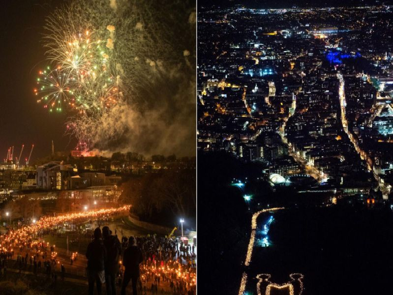A helicopter captured the 'Be Together' message created by the torch-bearers.