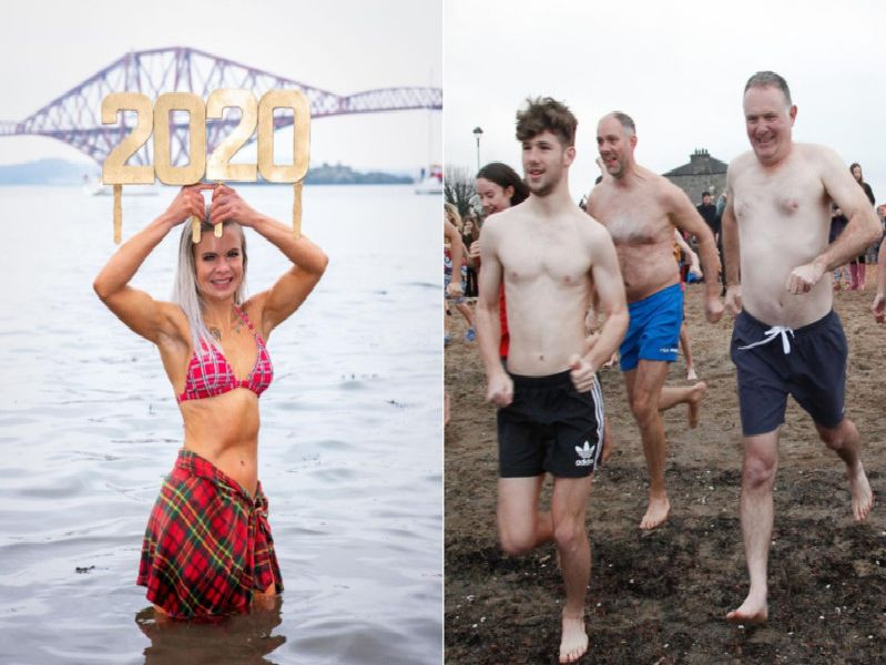 Dookers turned up in their hundreds at South Queensferry and Portobello Beach on New Year's Day.