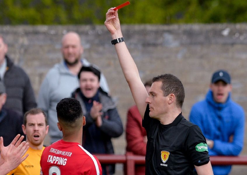 Conor McBrearty (Stenhousemuir) is sent off after getting a red card from referee Euan Anderson during the Scottish League 1 match between Brechin City and Stenhousemuir at Glebe Park, where a draw was enough to see Brechin City relegated to League 2.''(c) Dave Johnston