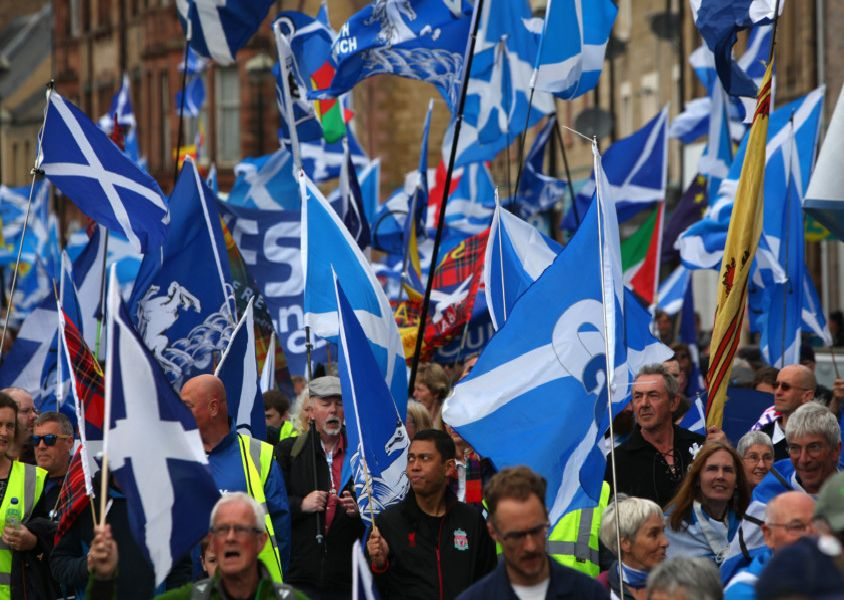 AUOB March for Scottish Independence in Galashiels in the Scottish borders.