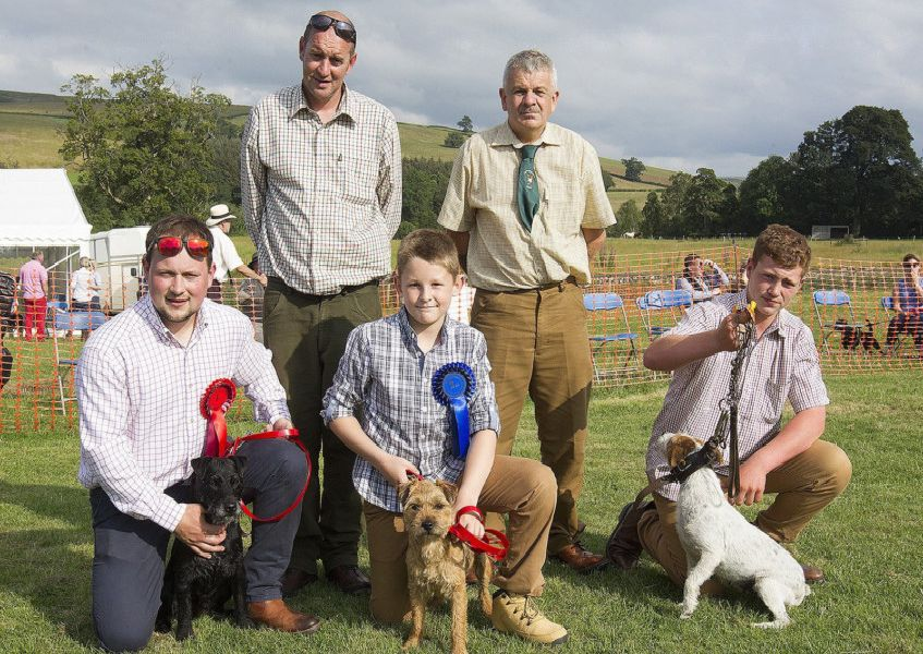 1st, second and third for Jedburgh - Jed Burns, Kyle Agnew and Keiran Peters with judges John Hill and Joe Marley