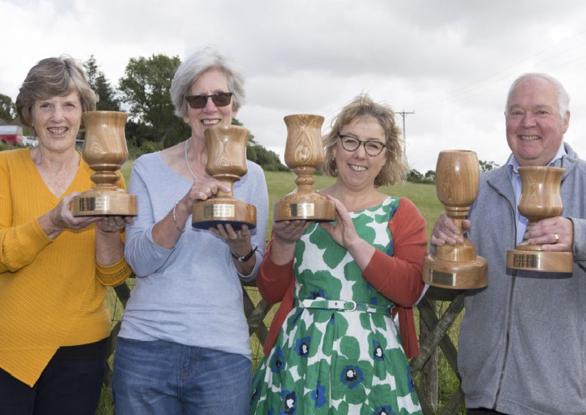 All the winners, from left: Hazel Rae (best in kitchen), Maggie Walker (best in workshop), Linda Lovatt (best in garden) and show champion Stephen Smith (best in studio).
