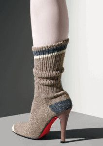 e120cc0c88ab Christian Louboutin Exhibition at Design Museum - London Sock boot woven  cotton sock knee-