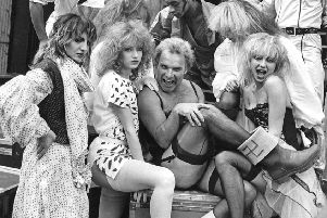 Freddie Starr with TV dance group Hot Gossip in 1981 (Picture: Getty Images)