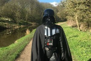 Darth Vader (Gavin Harrison) is walking from Coldstream to London to raise money for Children in Need