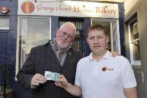 Art gallery owner Tony Huggins-Haig and Alan Malone, head baker at Granny Jean's Home Bakery in Kelso.