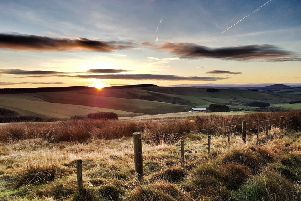 Monday morning sunrise looking over Crichness Farm near Cranshaws taken by Louise Renton from Duns