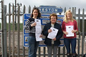 Alice Fisher (local resident and campaigner), Eileen Anderson (former employee of British Rail who worked at the ticket office in the 60s), and Lisa Davidson (local resident and campaigner).