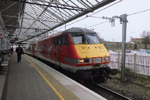 A southbound Virgin train at Berwick Upon Tweed railway station on the East Coast mainline