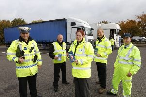 Officers involved in the new waste crime project on the A1.