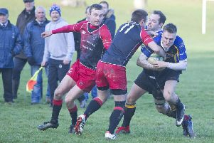 Duns in action against Hawick Harlequins (Pic: Bill McBurnie)