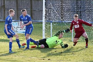 Eyemouth, in maroon, were five goals down at the break
