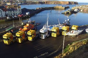 D R Collin lorris parked up at Eyemouth Harbour.