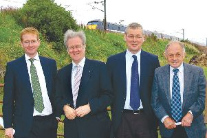 Stewart Stevenson, transport minister, with John Lamont, at Reston Station in 2009.