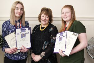 BHA apprentices Katie Young and Charley Hall with chief executive Helen Forsyth celebrate their success during National Apprenticeship Week.