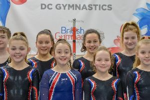 The NDP Tumbling Team (Left to right); David Routledge, Georgia Finne, Ebony De Oliveira, Imogen Meakin, Maddie Rosher, Macey Tait, Layla Tait, Lizzie Foxton.
