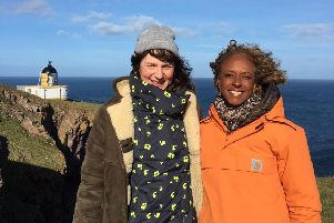NTS interim filming manager Sarah Eccles and BBC Presenter Gillian Burke at St Abbs Head