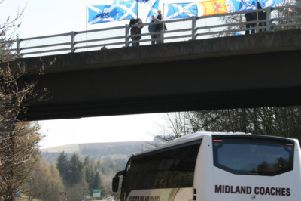 "Supporters of YES Berwickshire took part in a Bridges for Independence demonstration over the A1 at Ayton in support of Scottish'Independence and Membership of the European Union on Friday, March 29, the day the UK should have been leaving the EU."" A very positive 'response was received from the motorists below,"" said a spokesperson for the group."