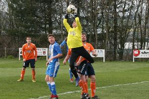 Tweedmouth keeper Danny Fletcher plucks one out of the air (Pic: Jim Dick)